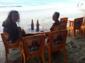 Beers with out feet in the sea!