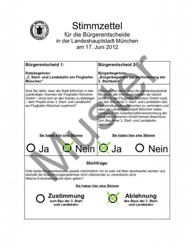 So sah der Stimmzettel beim Bürgerentscheid um die Dritte Startbahn aus.