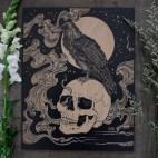 "Raven & Skull - 11x14"" Wood Engraving"