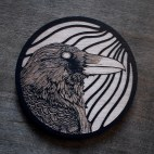 Raven Head - Wood Coaster