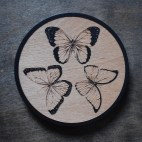 Butterfly Trio - Wood Coaster