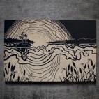 """Cottage Lake Sunset - 4x6"""" Wood Engraving"""