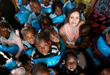Katharine McPhee pictured with children of Burkina Faso during her trip to Africa as an ambassador for Malaria No More in 2012.