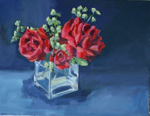 Red roses with alchemilla