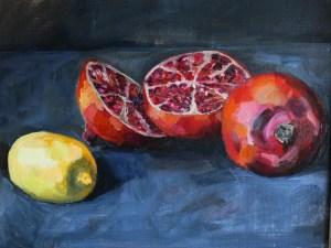 Painting of pomegranates and lemon