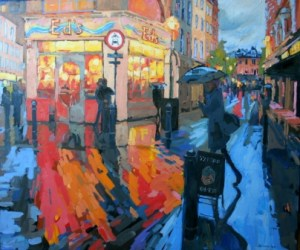 Old Compton Street oil painting