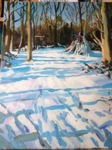Snowy den on Wimbledon Common