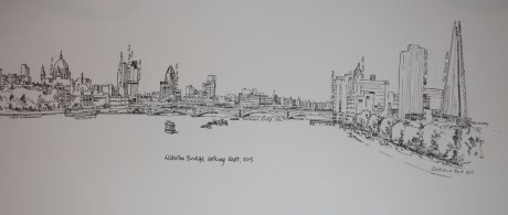 From Waterloo Bridge looking East (labelled)
