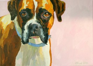 Boxer dog oil painting