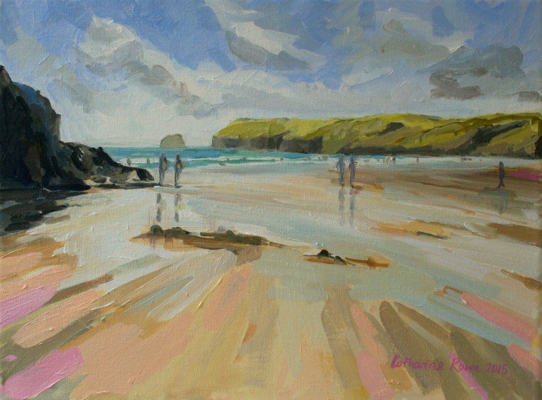 Polzeath beach oil sketch 30x40cm, £475
