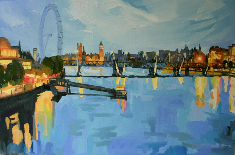 Southbank and Thames from Waterloo bridge. Commission, 90x60cm.