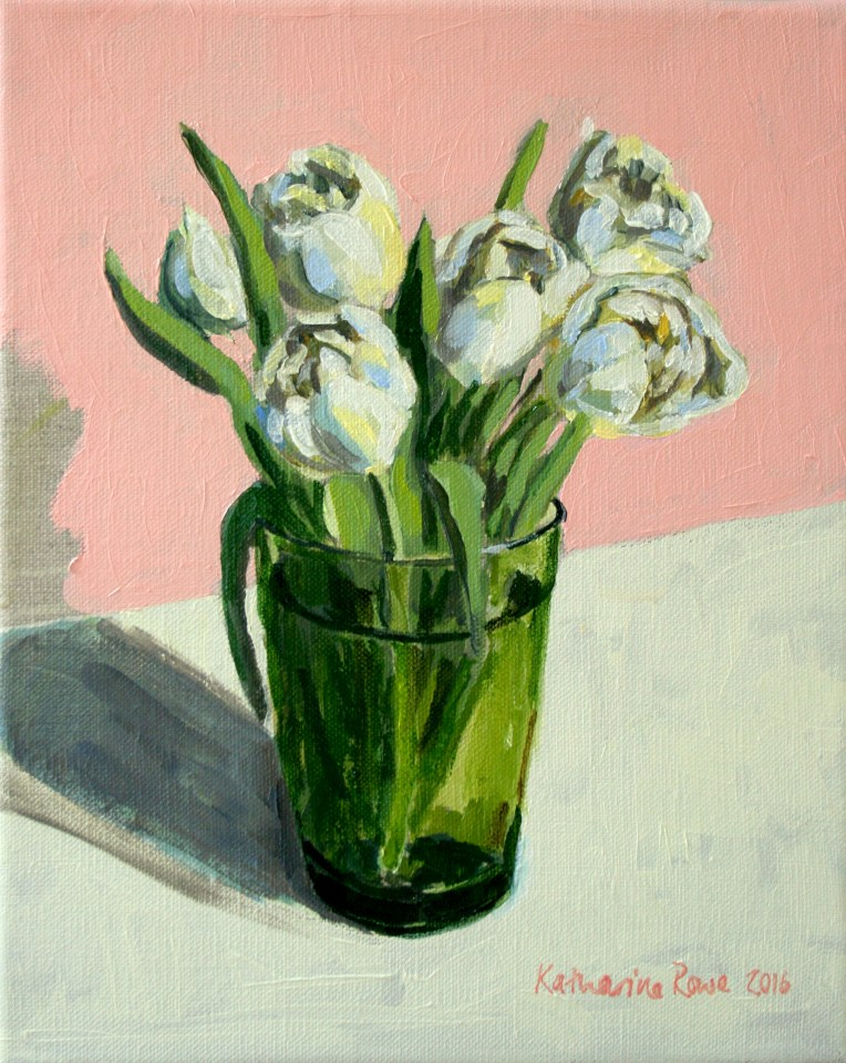 Tulips in a green glass, 27x22cm unframed, £175