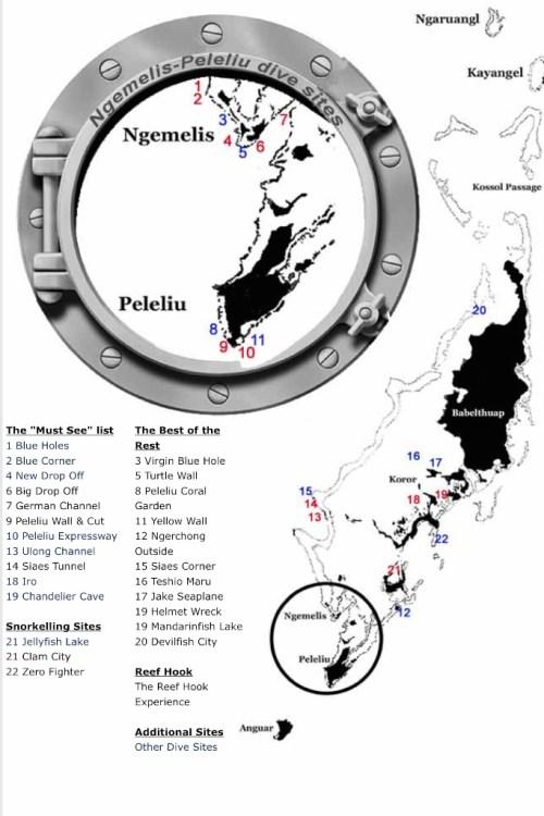 Mapa nurkowisk na Palau opracowana przez centrum nurkowe Fish'n Fins