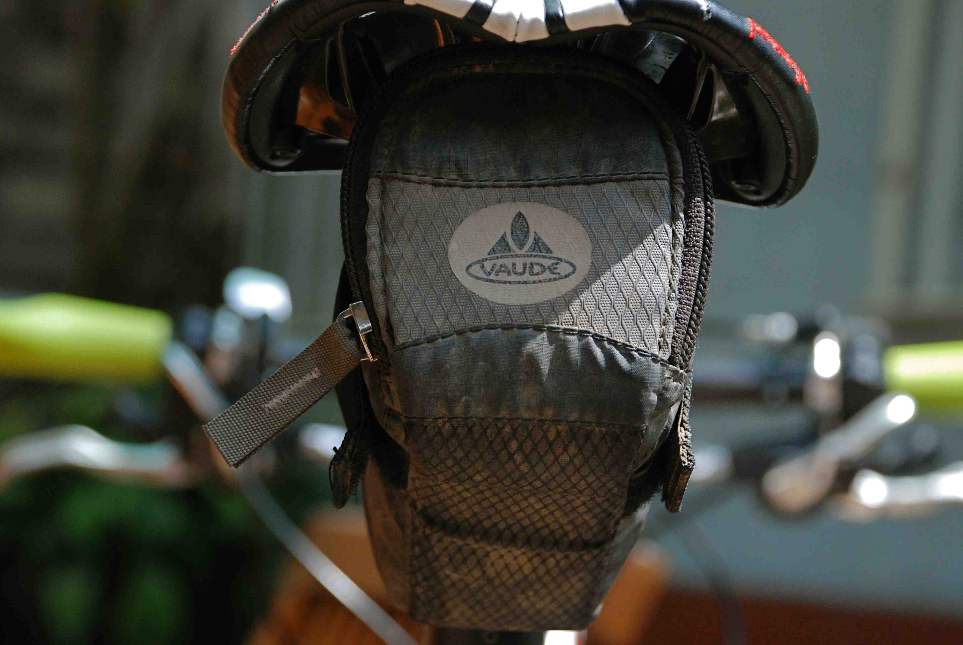 The trusted saddle bag migrates to it's third bike.  Impressive.