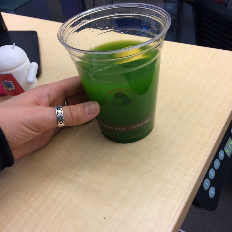 Green juice and water