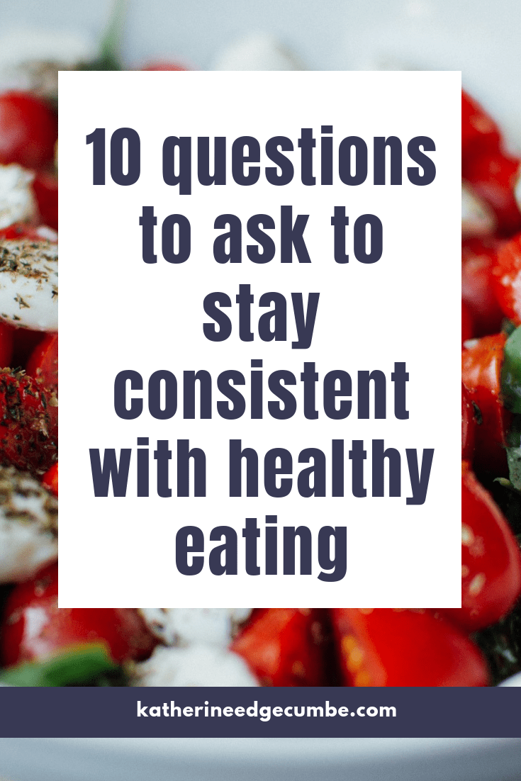 Want to eat healthy consistently? Ask yourself these 10 questions to get started with healthy eating. #nutritionadvice #weightloss #healthyeatingmotivation #healthyeatingtips