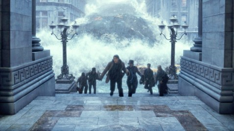 Screen shot of characters trying to out run a giant wave in the movie The Day After Tomorrow