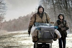 Screen shot of father and son characters from the movie The Road