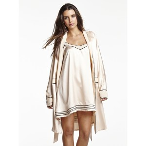 Cosabella Sophisticated Robe and BabyDoll, Blush/Black
