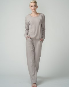 skin pj top and pant with tulle trim, taupe