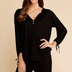 Rosette Peasant Top, Black