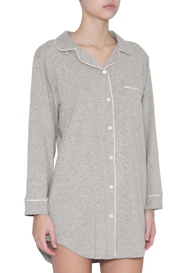 h1018 gisele sleep shirt_heather grey_sorbet pink
