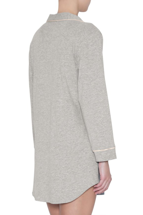 h1018 gisele sleep shirt_heather grey_sorbet pink_back