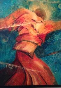 "Samurai Dancer • 29"" x 22"" Acrylic/Paper"