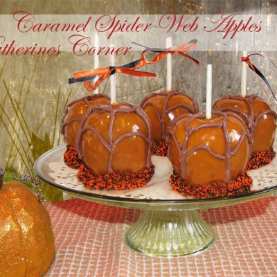 Meatless Monday Spider Web Caramel Apples
