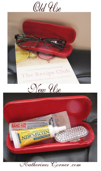 first aid kit from old eye glass case