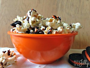Chocolate Drizzled Oreo Popcorn  halloween treats