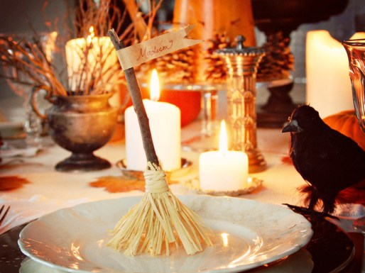 witches broom place cards