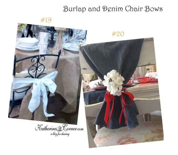 denim and burlap chair bows