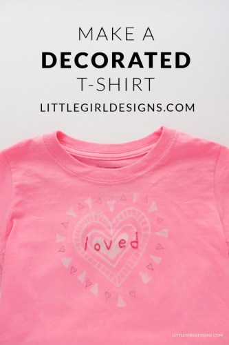 diy little girls decorated t ahirt