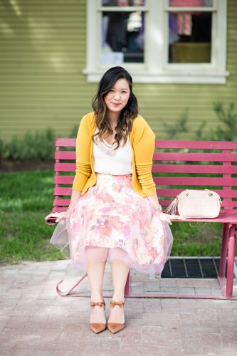 floral and tulle skirt
