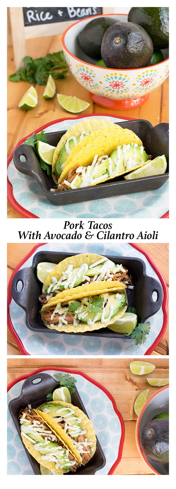 Pork Tacos with Avocade and Cilantro Aioli