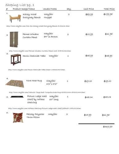 cozy den shopping list