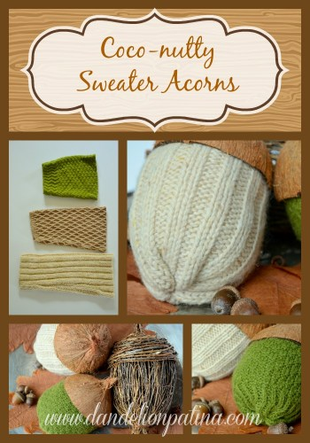 diy coconut sweater acorns