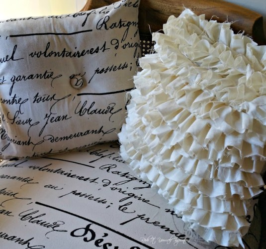 diy french and ruffle toss pillows