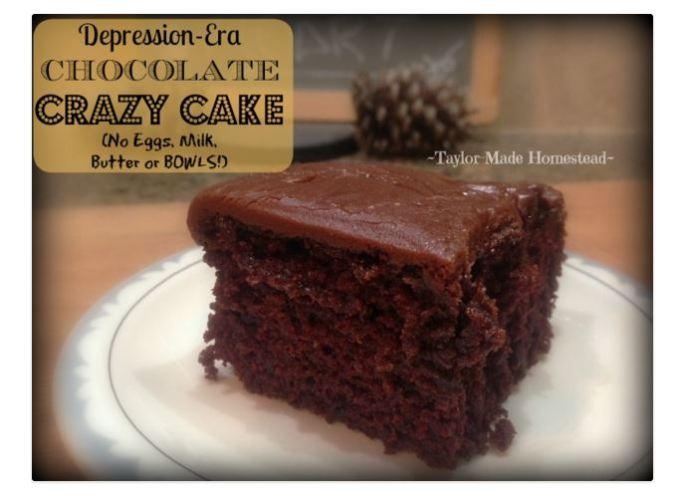 depression era chocolate cake made with no milk no eggs and no butter