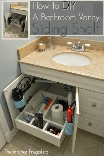 diy bathroom sliding shelf