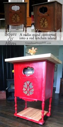 diy transform a radio stand into a kitchen island