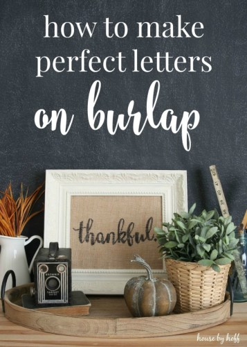diy letters on burlap
