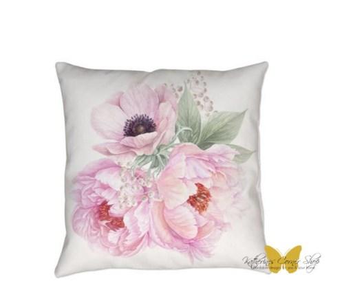 pink peonies pillow exclusively at katherines corner shop