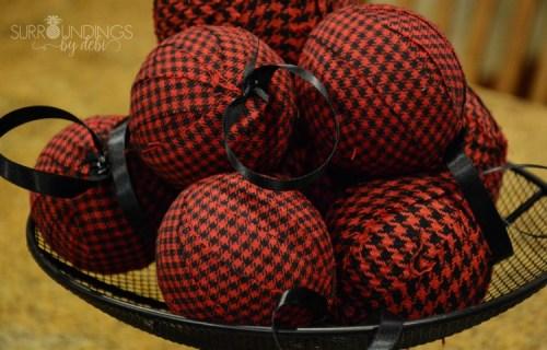 red and black diy christmas balls