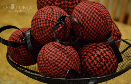 red and black diy christmas balls