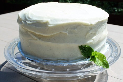 walnut cake with vanilla frosting