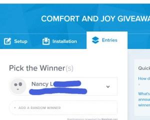 comfort and joy giveaway winner