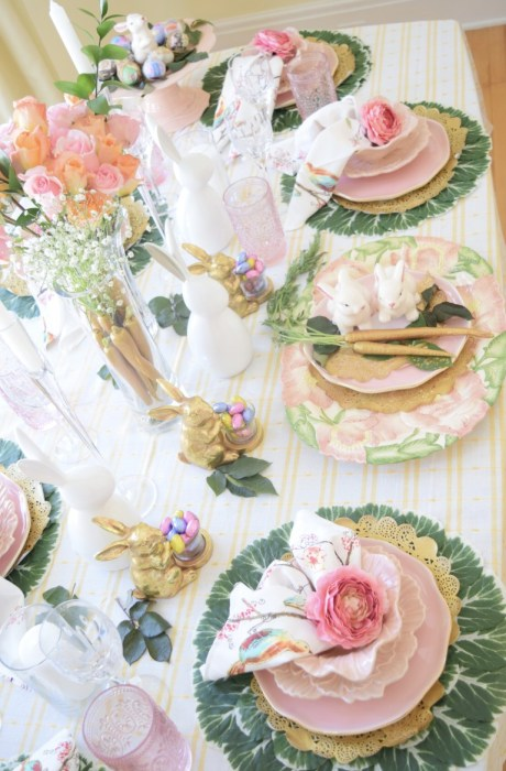 gold Easter tablescape