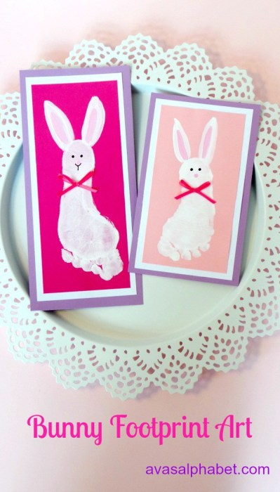 how to make bunnies with childrens foot prints
